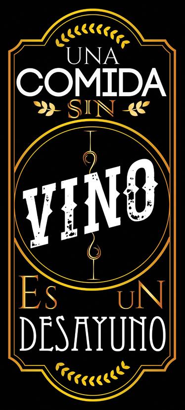 """TenVinilo. Vinilo para cocina etiqueta de vino. Vinilos decorativos para la cocina con una recreación de una etiqueta de botella de vino y el texto """"una comida sin vino es un desayuno""""."""