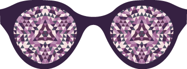 TenStickers. Muursticker bril caleidoscoop. Originele muursticker met de tekening van een bril waarvan de lenzen weergeven zijn met een psychedelische geometrische textuur.