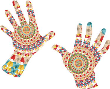 TenStickers. Hænder mandala stickers. Dekorative mandala hænder som wallsticker. Bring den varme stemning fra Østasien ind i hjemmet med disse mandala hænder.