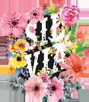 TenStickers. Sticker naam bloemen. Exclusief muurvinyl, ideaal voor het versieren van het verblijf van de kleinsten thuis of voor gemeenschappelijke ruimtes.