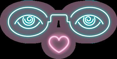 TenVinilo. Vinilo decorativo gafas de neón. Dibujos para pared en adhesivo originales y modernos con una representación de los típicos letrero iluminados de neón.