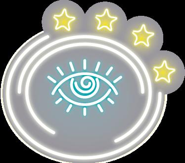 TenStickers. Sticker oog neon. Fraaie muursticker met de afbeelding van een oog dat licht lijkt te geven om welke kamer dan ook in je huis te versieren.