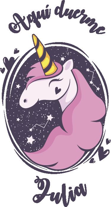 TenVinilo. Vinilo decorativo unicornio con nombre. Vinilo decorativo con el dibujo de una unicornio y un texto que indica quien duerme en la habitación donde se ha aplicado.