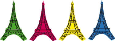 TENSTICKERS. エッフェル塔ポップアートパリステッカー. 緑、ピンク、黄色、青のエッフェル塔のレプリカが付いたポップアートスタイルのモダンな装飾ステッカーは、家にぴったりです。