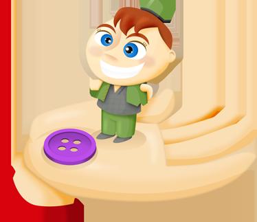 TenVinilo. Vinilo infantil Pulgarcito. Pulgarcito sonriente es tan pequeño como un botón.  Uno de los vinilos infantiles de la colección cuentos clásicos.