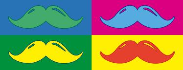 Tenstickers. Koristereunus värikkäät pop art viikset. Koristereunus värikkäät pop art viikset. Hauska ja uniikki koristereunus, jossa on erivärisillä taustoilla erivärisiä viiksiä.