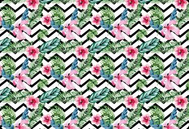 Tenstickers. Geometrinen kukka läppäritarra. Geometrinen kukka läppäritarra. Kaunis omaperäinen tarra läppäriisi, jossa on taustalla mustavalkoista geometristä kuvioita ja värikkäitä kukkia.