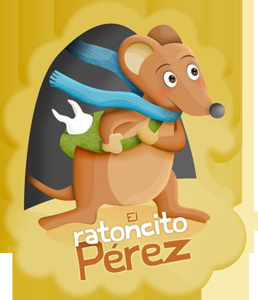 TenVinilo. Vinilo infantil ratoncito Pérez texto. Ilustración original del ratoncito Pérez con una bufanda azul. Uno de los vinilos infantiles de la colección cuentos clásicos.