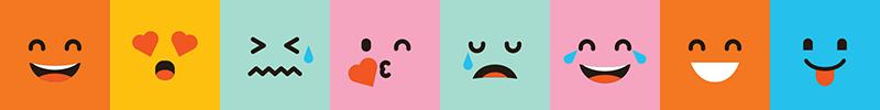 TenStickers. Greca adesiva colorata emoticons. Decorazione parete coloratissima con varie espressioni delle emoticons