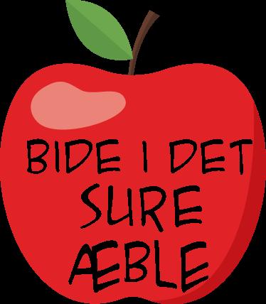 TenStickers. Bide i det sure æble klistermærke. Bide i det sure æble klistermærke. Det gamle danske ordsprog og at gøre noget man ikke har lyst til. Få det sjove ordsprog hjem idag.