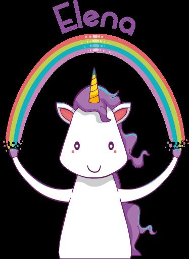 TenStickers. Vinil infantil unicórnio e arco-íris. Adesivo infantil com unicórnio a segurar o arco-íris ideal para decoração de interiores como quartos de criança.