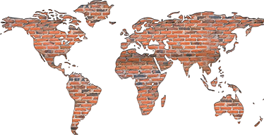 TenStickers. Bricks world map decal. Bricks texture world map wall sticker with a visual effect appearance to decorate any space of choice. Buy it in any size needed.