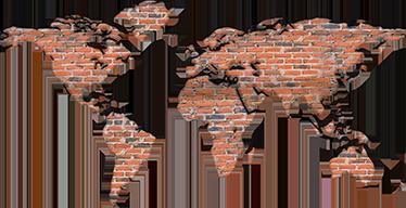 TenStickers. Sticker carte du monde briques. Décorez votre salon avec ce sticker carte du monde. Il est réalisé de telle façon que l'on pense que la carte est remplie avec des briques.