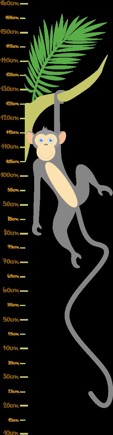 TenStickers. Adesivo medidor ramo com macaco. Dê uma nova ideia de decoração aos quartos dos seus filhos com este adesivo medidor com um ramo e um macaco a pendurar-se.