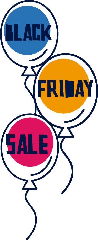 TenStickers. Black Friday ballons window sticker. Announce the Black Friday discounts with this funny and colourful window decal sticker that will fit great in your shop front window.