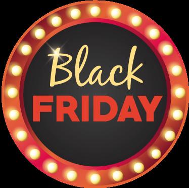 TenStickers. Autocolantes negócios Round Black Friday. Brilhante vinil autocolante promoções para montras que irá ficar perfeito na montra frontal da tua loja para as tuas promoções Black Friday!