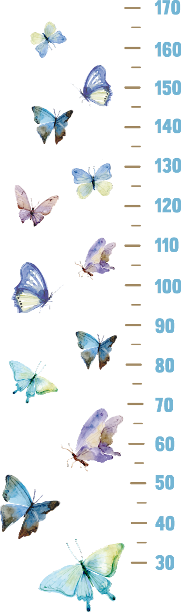 Tenstickers. Pituusmitta sisustustarra perhoset. Pituusmitta sisustustarra perhoset. Suloinen pituusmitta seinälle, jossa on sinisävyisiä perhosia. Hauska tapa lapsille mitata pituuttaan.