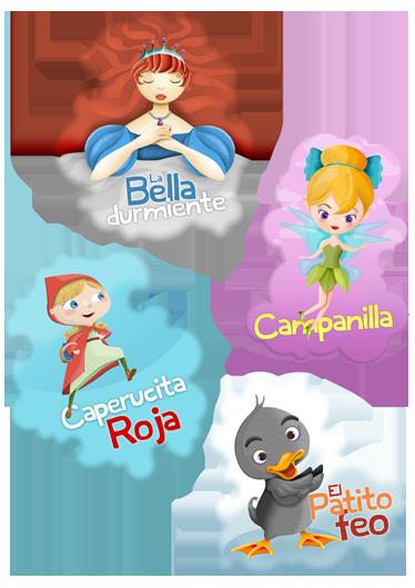TenVinilo. Colección infantil pegatinas cuatro cuentos. Colección de pegatinas infantiles de cuentos clásicos que incluye: Bella durmiente, Campanilla, Caperucita Roja y el Patito Feo.