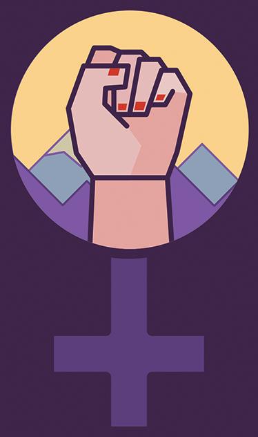 TenStickers. Disegno per pareti simbolo femminista. Decora la tua casa con questo adesivo casa, con il simbolo del femminista, con lo specchio di Venere ed una mano di una donna con il pugno chiuso!