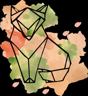 TenVinilo. Vinilo zorro y manchas. Vinilos modernos con estilo splatter en los que sobre la representación abstracta de una mancha multicolor se dibuja el perfil de un zorro.