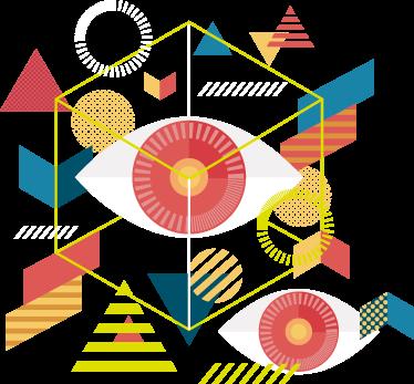 TenVinilo. Vinilo decorativo ojos geométricos. Reproducciones de arte con una ilustración original en murales y vinilos adhesivos, ideal para tu salón o dormitorio.