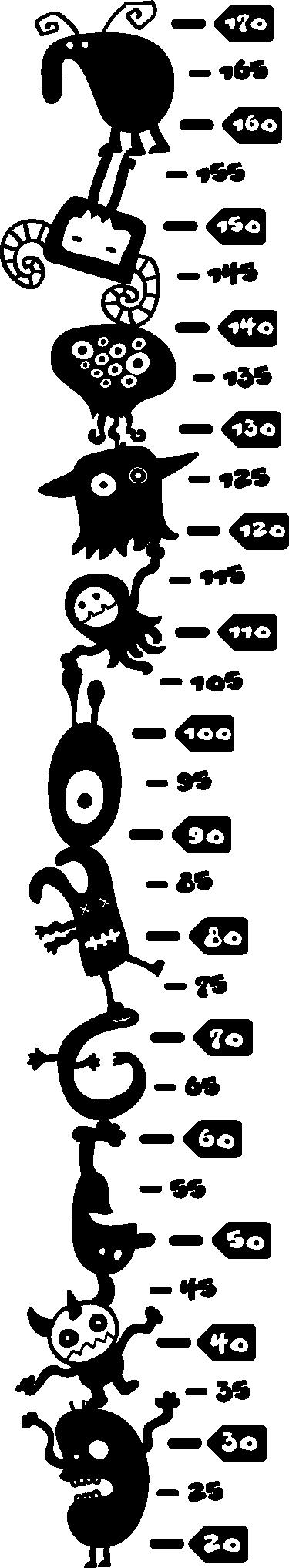 TenVinilo. Vinilo medidor alienígenas equilibristas. Vinilo medidor con formado por un conjunto de alienígenas amontonados haciendo equilibrios y la medida en centímetros a su lado.