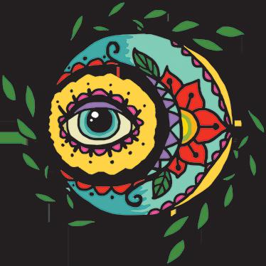 TenStickers. Muursticker oog maan bloemen. Zelfklevende muursticker met een mystieke sfeer. Een manier om een omgeving te creëren die is aangepast aan uw smaak.