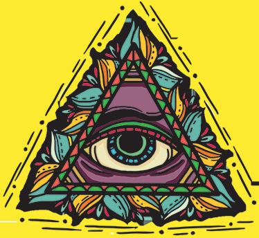 TenStickers. 上帝的眼睛纹身风格墙装饰. 原始装饰贴,具有神眼的经典表现,并具有接近纹身世界的美感。