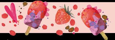 TenVinilo. Cenefa adhesiva postre helado. Vinilos pared con una textura de polos de helado y corazones, para darle color y originalidad a tu comedor o cocina.
