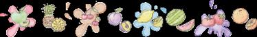 TenStickers. Greca adesiva frutta mista. Greca adesiva effetto acquarello rappresentante della coloratissima frutta in sequenza