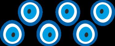 TenStickers. Greca adesiva talismano occhio del diavolo. Talismano adesivo raffigurante l'occhio del diavolo, con i suoi toni nel blu e azzurro