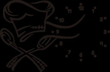 TenVinilo. Relojes decorativos de pared chef cocina. Vinilos cocina con un diseño elegante y original en el que aparece un gorro de chef con la representación de dos cubiertos y un círculo con las horas.