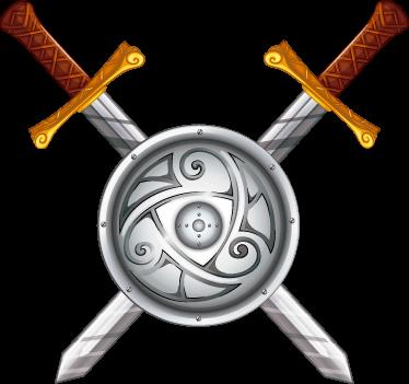 TenStickers. Sticker épées viking. Décorez votre espace avec ce sticker mural décoratif. Il représente 2 épées viking avec un bouclier.