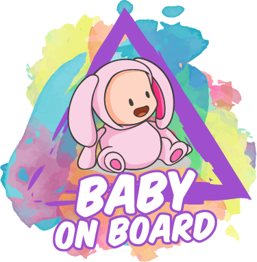 TenStickers. Sticker baby on board splatter style. Adivo per auto bebé a bordo molto dolce e coloratissimo
