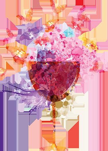 TenVinilo. Vinilo decorativo splatter copa de vino. Vinilos cocina con el dibujo de un vaso colorido, creado con una textura de pinturas y manchas y mariposas saliendo de dentro.