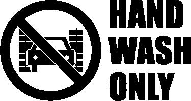 """TenVinilo. Pegatina coche solo lavado a mano. Pegatina para coches con una señal de prohibido pasar el coche por el túnel de lavado junto con el texto """"Hand wash only"""" (Lavar solo a mano)."""
