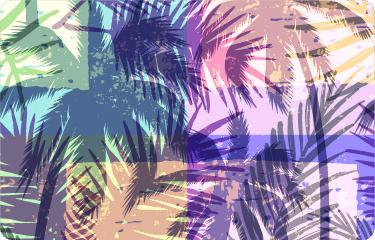 TenStickers. šarena koža prijenosnika stabla palme. Na prijenosnom računalu se spremaju mnoge uspomene. Ova naljepnica za laptop savršena je za izražavanje osjećaja ljeta svojim šarenim dizajnom palmi.