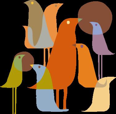TenStickers. Vinil decorativo paássaros estilo minimalista. Autocolante com diversos pássaros num desenho minimalista em tons sóbrios. Adaptando-se fácilmente a qualquer sala de estar ou quarto.
