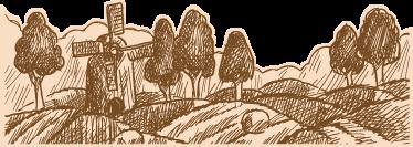 TenVinilo. Vinilo paisaje campo. Vinilo decorativo con un dibujo hecho a lápiz de un paisaje campestre con molino incluido, ideal para cualquier estancia de tu casa.