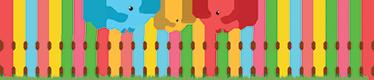 TenStickers. Bordüre Kinderzimmer bunter Zaun. Schönes Wandtattoo mit einem bunt lackiertem Zaun und Vögeln. Schöne Dekorationsidee für das Kinderzimmer.