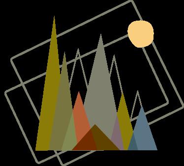 TenVinilo. Vinilo montañas estilo minimalista. Decora las paredes de tu hogar con una representación artística y moderna de distintos picos de montaña.