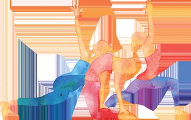 TenStickers. Adesivo murale sport posizioni yoga. Adesivo sport con il disegno di una ragazza in alcune delle posizioni dello yoga Wall sticker colorato ideale per palestre e aule di yoga
