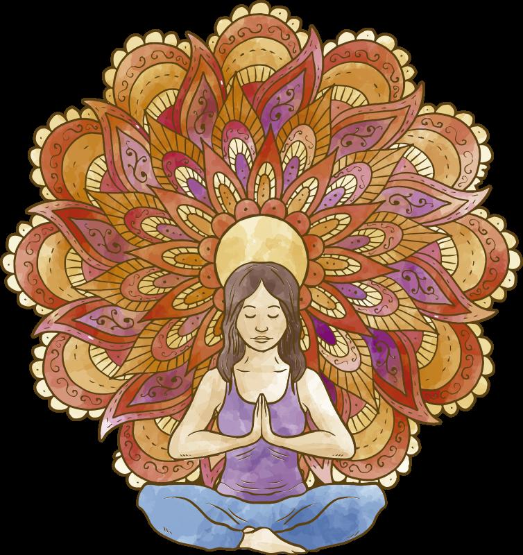 TENSTICKERS. ヨガ描画花壁デカール. 日常生活のストレスを忘れることを思い出させるヨガウォールステッカーで、自分と一緒に平和と静けさを感じてください。
