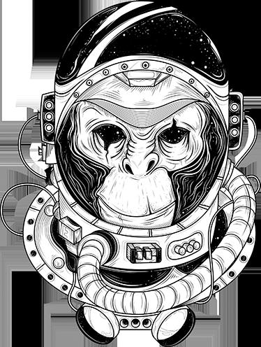 TenStickers. Wandtattoo Austronaut Affe. Interessantes Wandtattoo mit einem Affen als Astronaut. Holen Sie sich das Weltallfeeling nach Hause!