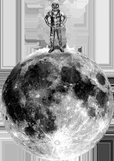 TenVinilo. Vinilos del espacio astronauta retro. Divertido vinilo de aspecto retro con una representación de la luna y un explorador del espacio en el polo norte de nuestro satélite.