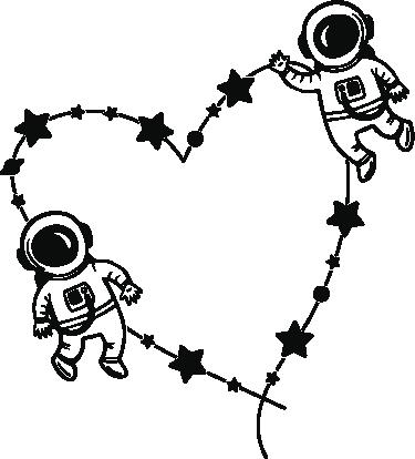 TenVinilo. Vinilo decorativo amor astronauta. Vinilos para pared con una ilustración de dos astronautras orbitando dibujando una constelación de estrellas con forma de corazón.