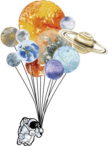 TenStickers. Autocolante decorativo astronauta e planetas. Mural decorativo em adesivo com uma ilustração engraçada e original de um astronauta que voa sobre o espaço com planetas de balão.