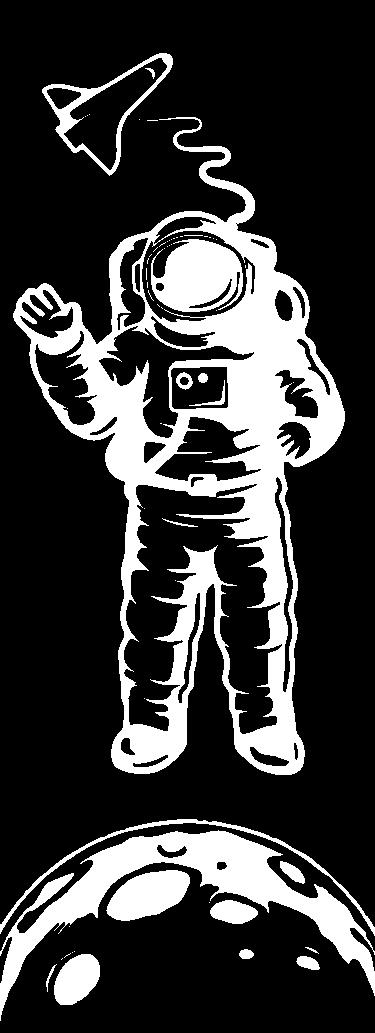 Douchewand sticker astronaut