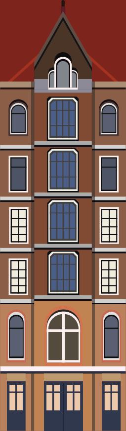 TenStickers. Raamfolie grachtenpandjes-doorzichtig. Sfeervolle raamsticker met leuke Hollandse grachtenpandjes om aan de onderkant van uw ruit te plaatsen. Heerlijk sfeervol en trendy!