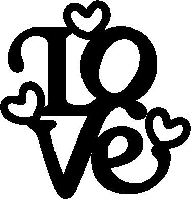 """TenStickers. Sticker mural love. Décorez les murs de votre espace avec cet autocollant mural texte """"love"""". Pour déclarer vote flamme à votre amoureux ou amoureuse !"""